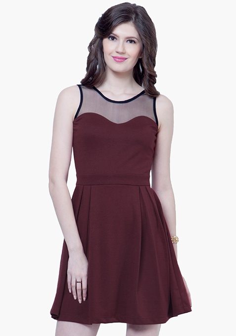 Mesh Maze Skater Dress - Oxblood