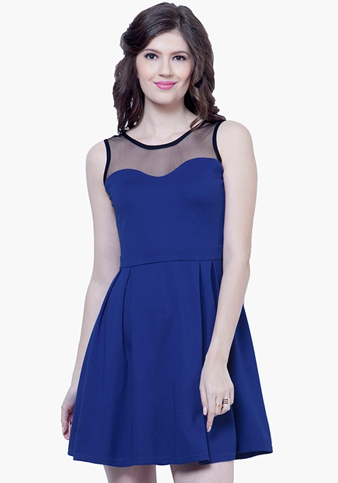 Mesh Maze Skater Dress - Blue