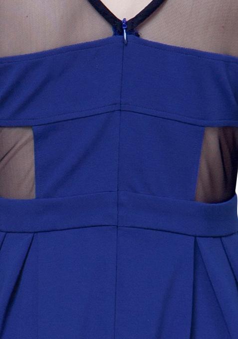 Mesh Maze Skater Dress - Blue