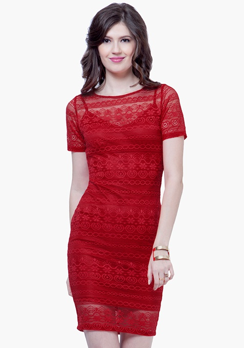 Lace Lady Midi Dress - Red