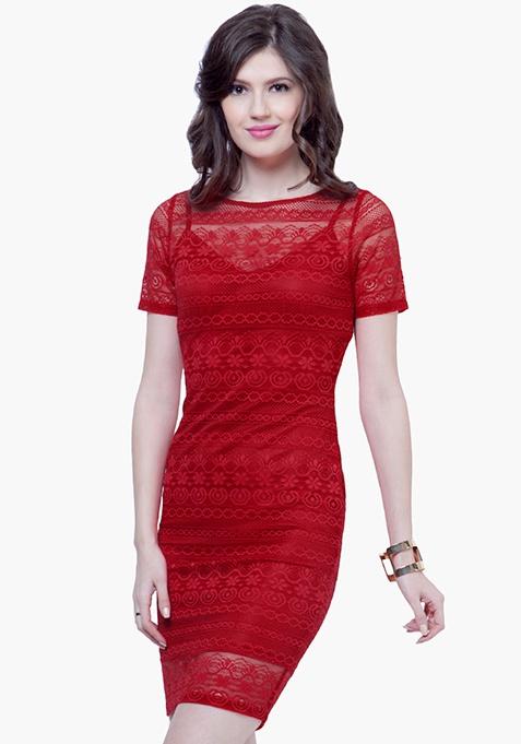 Lace Lady Midi Dress - Red