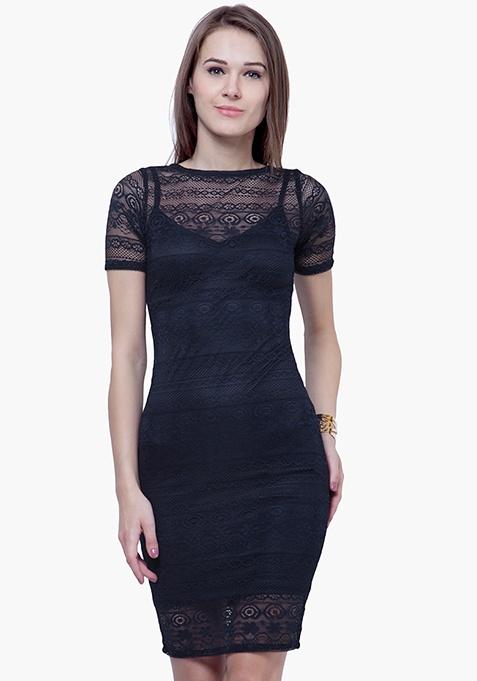 Lace Lady Midi Dress - Navy