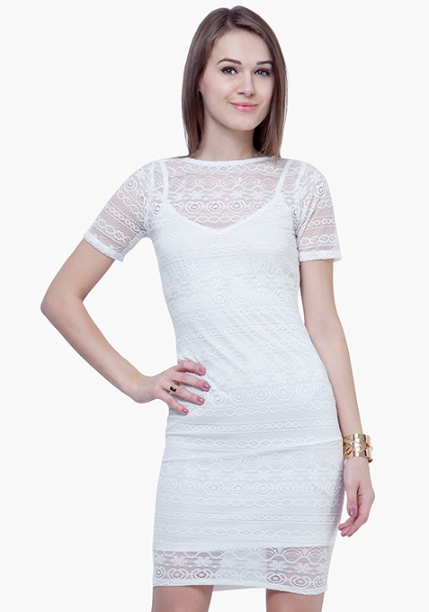 Lace Lady Midi Dress - White