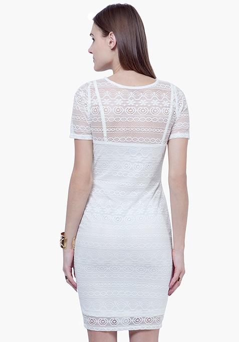 Lace Lady Midi Dress - White