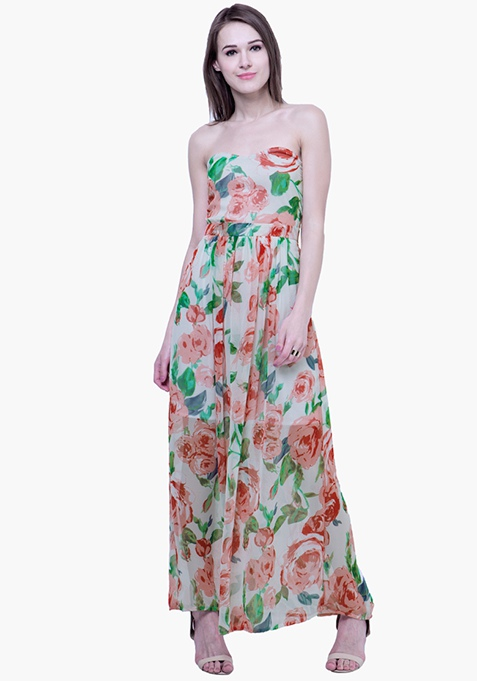 Strapless Maxi Dress - White Floral
