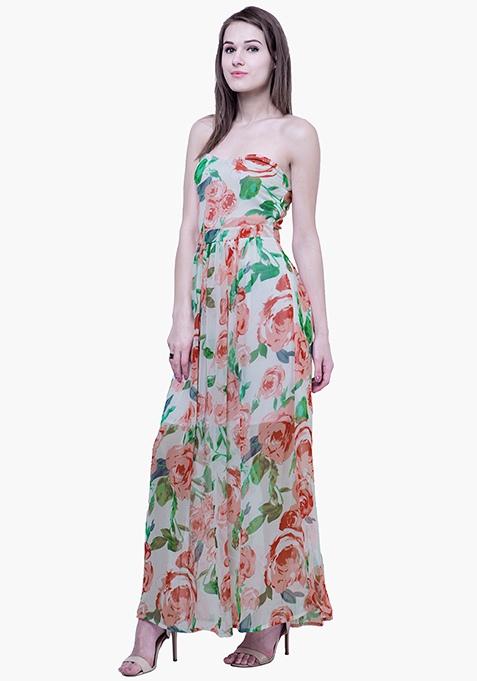 Strapless Maxi Dress - White Floral