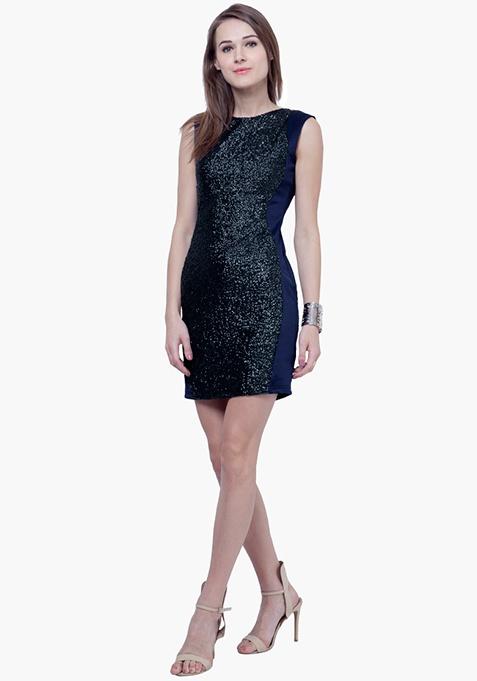 Sequin Marvel Mini Dress - Navy