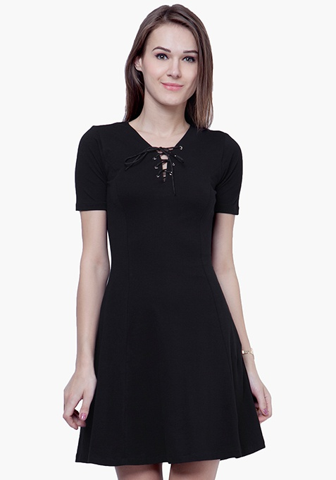 Tie-Up Skater Dress - Black