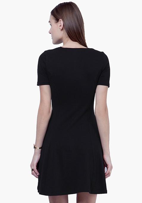 Tie-Up Skater Dress - Black