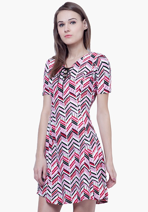 Tie-Up Skater Dress - Chevron