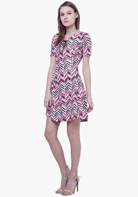 Tie-Up Skater Dress - Chevron