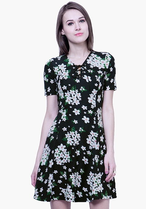 Tie Up Skater Dress - Floral