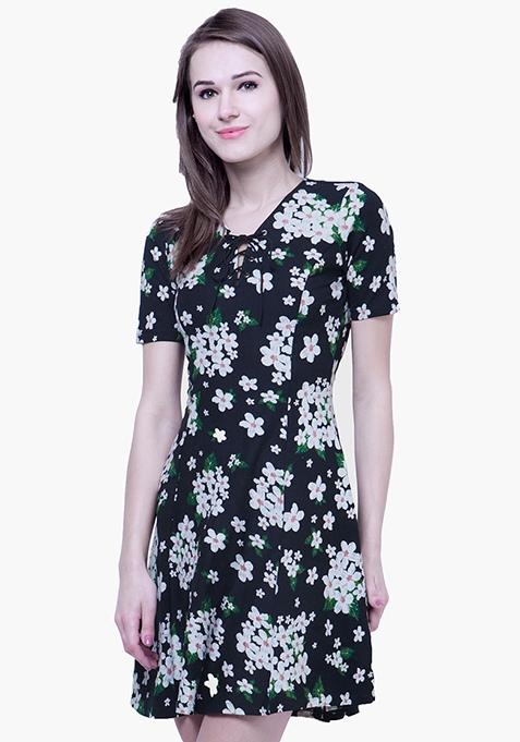 Tie Up Skater Dress - Floral