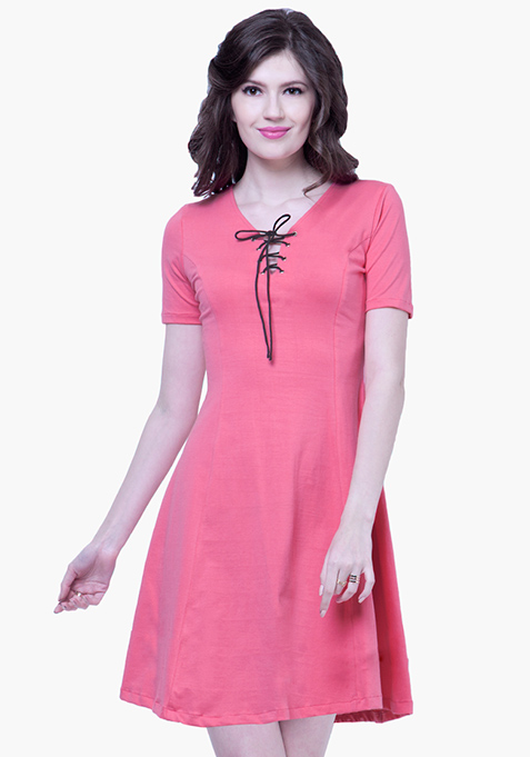 Tie Up Skater Dress - Pink