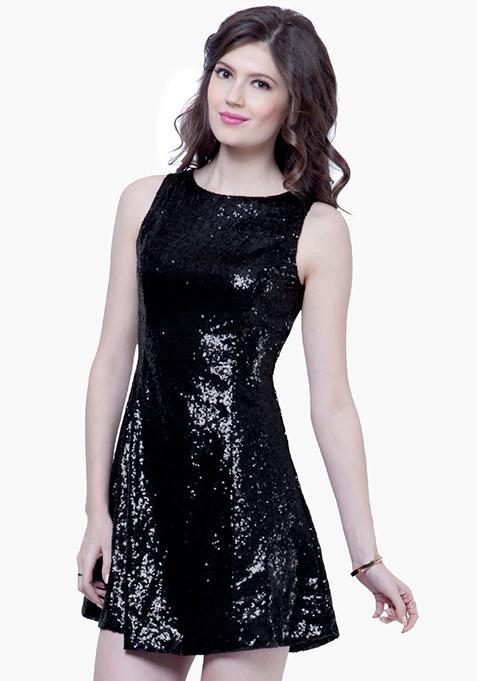 Sequin Spirit Skater Dress - Black