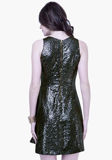 Glam On Sequin Dress - Gunmetal