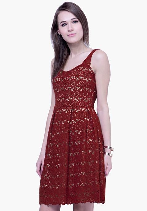 Dare Bare Lace Dress - Oxblood