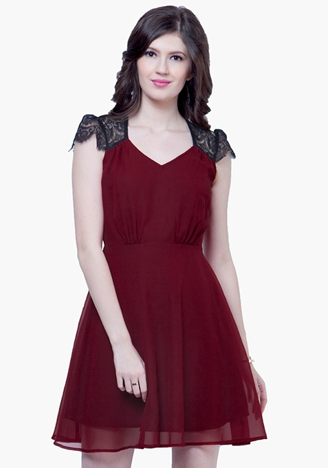 Lace Phase Skater Dress - Oxblood