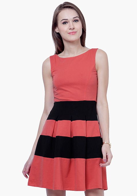 Bold Stripe Skater Dress - Coral