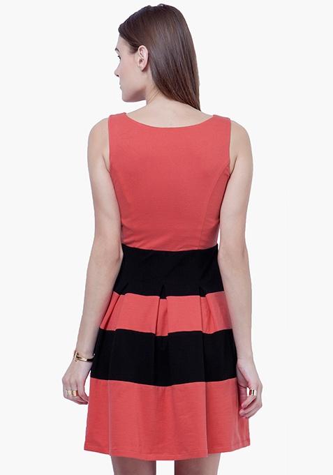 Bold Stripe Skater Dress - Coral