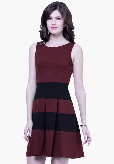 Bold Stripe Skater Dress - Oxblood