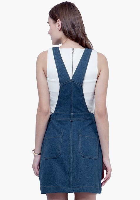 Denim Dungaree Dress - Medium Wash