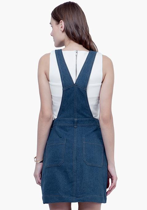 Denim Dungaree Dress - Medium Wash