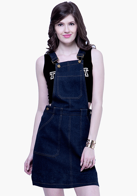 Denim Dungaree Dress - Dark Wash