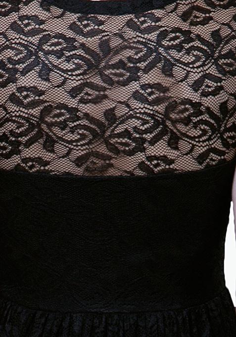 Victorian Lace Maxi Dress - Black
