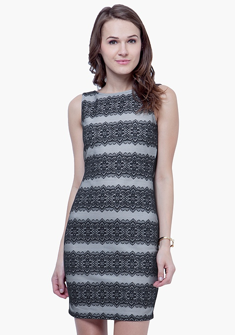 Lace Bodycon Dress - Monochrome