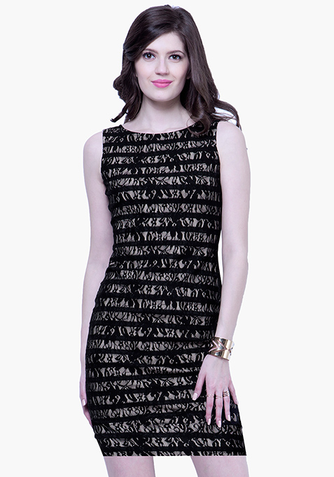 Bonded Lace Bodycon Dress - Black