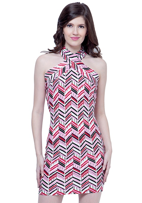 Spunky Bodycon Dress - Chevron