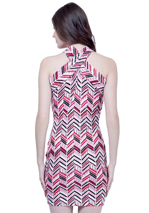 Spunky Bodycon Dress - Chevron