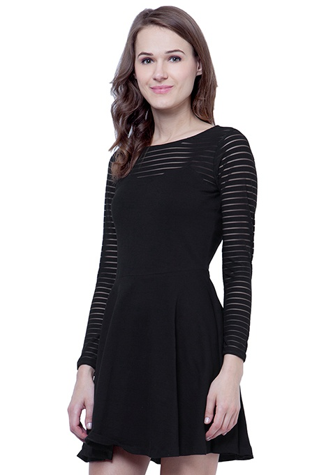 Get Meshed Skater Dress - Stripes
