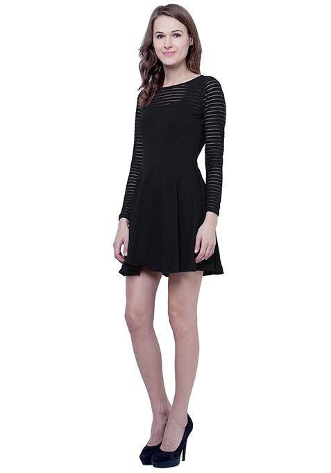 Get Meshed Skater Dress - Stripes