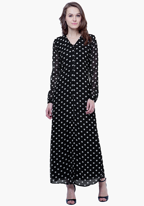 Maxi Shirt Dress - Polka