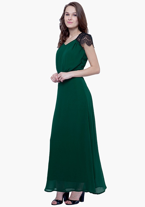 Lace Phase Maxi Dress - Green