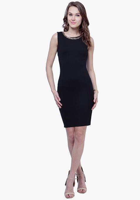 Gold Chain Bodycon Dress - Black
