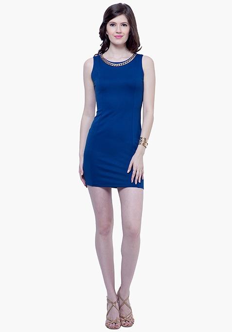 Gold Chain Bodycon Dress - Blue
