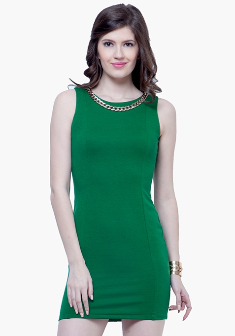 Gold Chain Bodycon Dress - Green