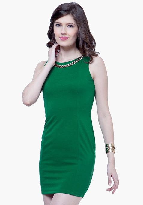 Gold Chain Bodycon Dress - Green