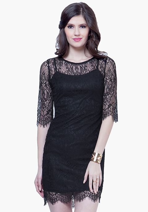 Goth Lace Mini Dress - Black