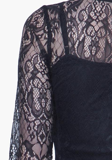 Goth Lace Mini Dress - Black