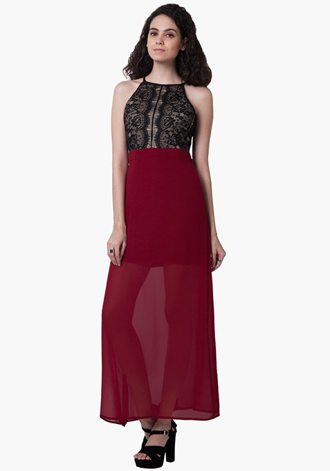 Lace Bodice Maxi Dress - Oxblood