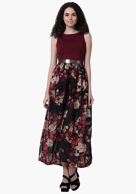 Floral Fierce Maxi Dress - Oxblood