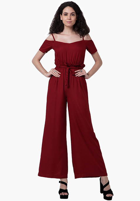 Cold Shoulder Jumpsuit - Oxblood