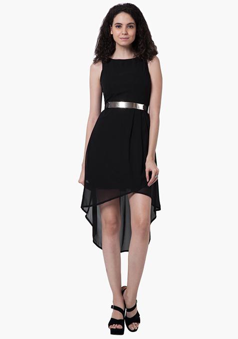 High-Low Maxi Dress - Black