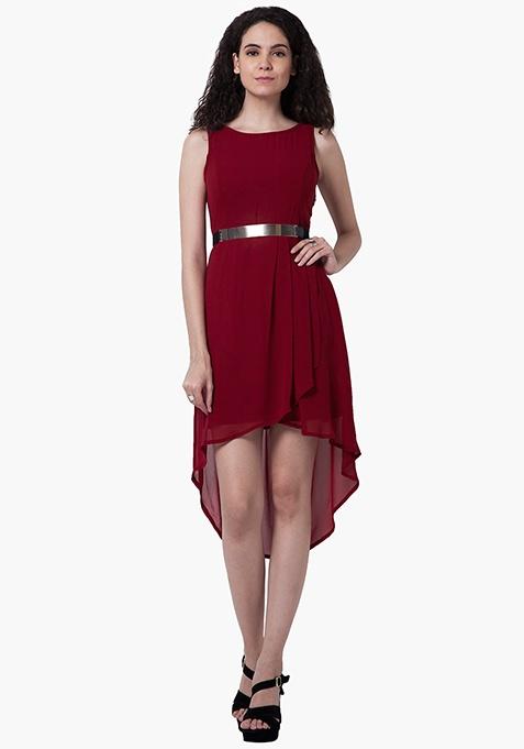 High-Low Sheer Dress - Oxblood