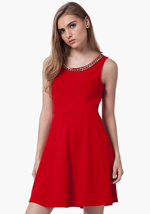 Gold Link Skater Dress - Red