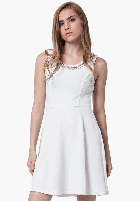 Gold Link Skater Dress - White